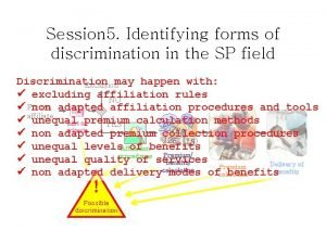 Session 5 Identifying forms of discrimination in the