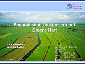 Economische kansen voor het Groene Hart Drs Paul