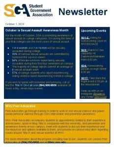 Newsletter October 1 2019 October is Sexual Assault