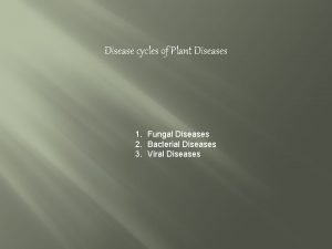 Disease cycles of Plant Diseases 1 Fungal Diseases