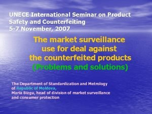 UNECE International Seminar on Product Safety and Counterfeiting