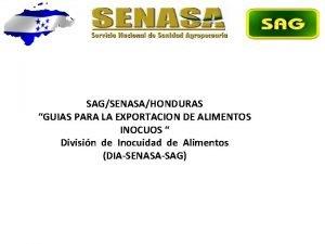 SAGSENASAHONDURAS GUIAS PARA LA EXPORTACION DE ALIMENTOS INOCUOS