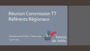 Runion Commission TT Rfrents Rgionaux Championnat de France