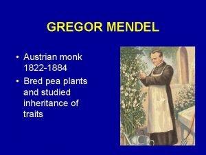 GREGOR MENDEL Austrian monk 1822 1884 Bred pea