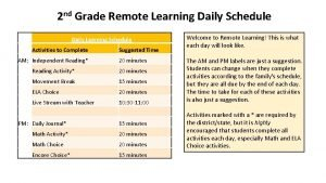 2 nd Grade Remote Learning Daily Schedule Daily