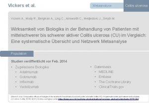 Vickers et al Metaanalyse Colitis ulcerosa Vickers A