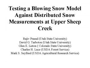 Testing a Blowing Snow Model Against Distributed Snow