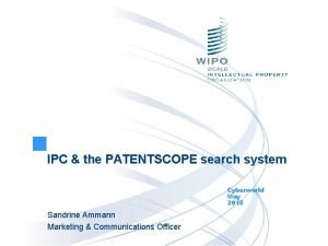 IPC the PATENTSCOPE search system Cyberworld May 2015