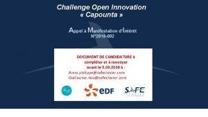 Challenge Open Innovation Capounta Appel Manifestation dIntrt N
