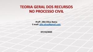 TEORIA GERAL DOS RECURSOS NO PROCESSO CIVIL Prof
