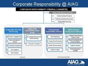 Corporate Responsibility AIAG CORPORATE RESPONSIBILITY STEERING COMMITTEE Global