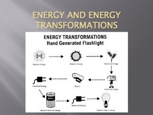 ENERGY AND ENERGY TRANSFORMATIONS What is energy and