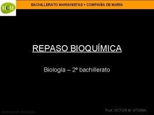BACHILLERATO MARIANISTAS COMPAA DE MARA REPASO BIOQUMICA Biologa