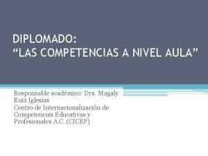 DIPLOMADO LAS COMPETENCIAS A NIVEL AULA Responsable acadmico