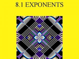 8 1 EXPONENTS Base 3 4 Exponent An