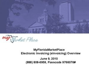My Florida Market Place Electronic Invoicing e Invoicing