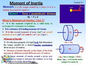 Moment of Inertia Lecture 10 Moment it is