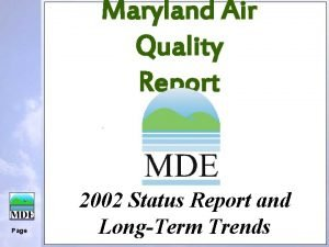 Maryland Air Quality Report Page 2002 Status Report