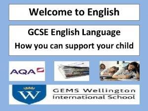 Welcome to English GCSE English Language How you