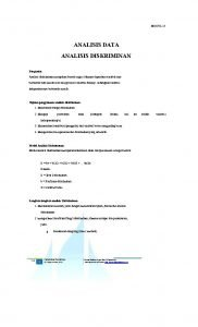 MODUL 15 ANALISIS DATA ANALISIS DISKRIMINAN Pengantar Analisis