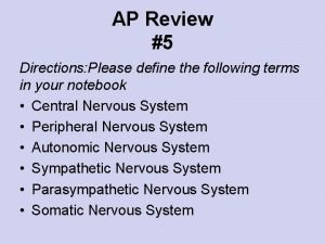 AP Review 5 Directions Please define the following