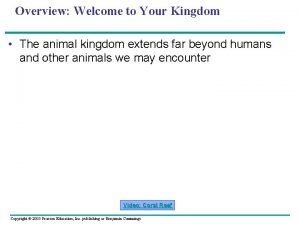 Overview Welcome to Your Kingdom The animal kingdom