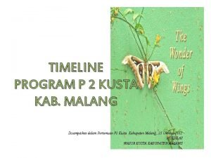 TIMELINE PROGRAM P 2 KUSTA KAB MALANG Disampaikan