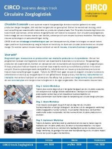 CIRCO business design track Circulaire Zorglogistiek Circulaire Economie