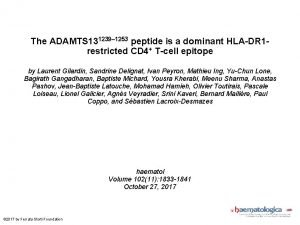 The ADAMTS 131239 1253 peptide is a dominant