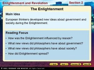 Enlightenment and Revolution Section 2 The Enlightenment Main