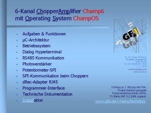 6 Kanal Chopper Amplifier Champ 6 mit Operating