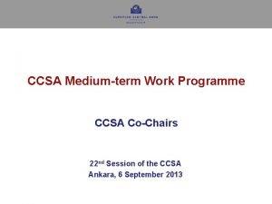 CCSA Mediumterm Work Programme CCSA CoChairs 22 nd