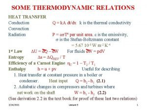 SOME THERMODYNAMIC RELATIONS HEAT TRANSFER Conduction Convection Radiation