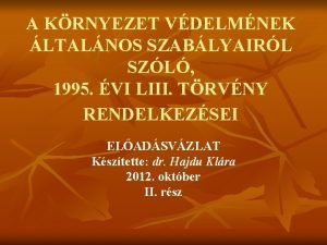 A KRNYEZET VDELMNEK LTALNOS SZABLYAIRL SZL 1995 VI