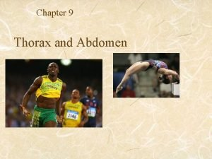 Chapter 9 Thorax and Abdomen Evaluation of Thorax