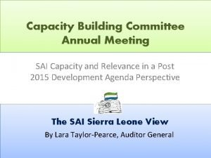 Capacity Building Committee Annual Meeting SAI Capacity and