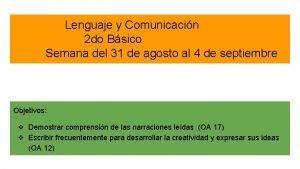 Lenguaje y Comunicacin 2 do Bsico Semana del