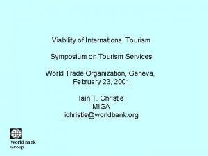 Viability of International Tourism Symposium on Tourism Services
