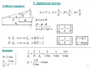 7 Spherical mirror 1 Mirror equation h C