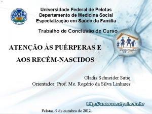 1 Universidade Federal de Pelotas Departamento de Medicina