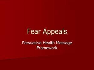Fear Appeals Persuasive Health Message Framework Kim Witte