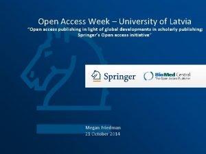 Open Access Week University of Latvia Open access