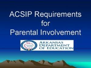 ACSIP Requirements for Parental Involvement Agenda ACSIP Requirements