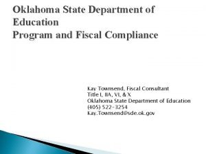 Oklahoma State Department of Education Program and Fiscal