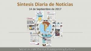 Sntesis Diaria de Noticias 14 de Septiembre de