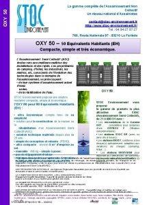 OXY 50 La gamme complte de lAssainissement Non