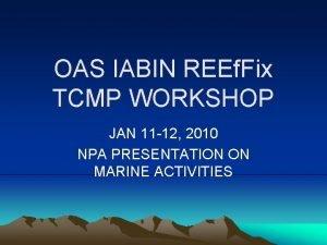 OAS IABIN REEf Fix TCMP WORKSHOP JAN 11