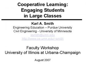 Cooperative Learning Engaging Students in Large Classes Karl