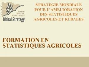 STRATEGIE MONDIALE POUR LAMELIORATION DES STATISTIQUES AGRICOLES ET