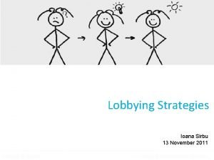 Lobbying Strategies Ioana Sirbu 13 November 2011 Lobbying